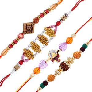 4 auspicious rakhi set