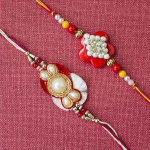 Beautiful Pair Of pearl rakhi