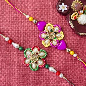 Multicolour rakhi set of 2