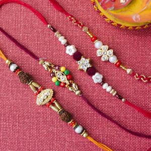 Set of four diamond rakhi