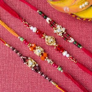 Multicolour Diamond Rakhi Set