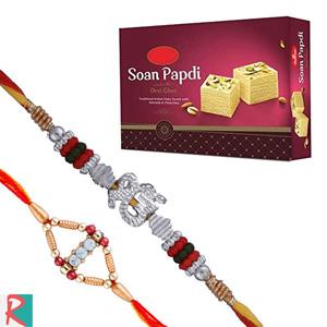 Soan papdi (500 gms) with 2 rakhi set