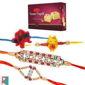Soan papdi (500 gms) with 2 rakhi set and 2 kids rskhis