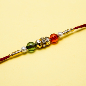 Multicolor diamond beads thread rakhi