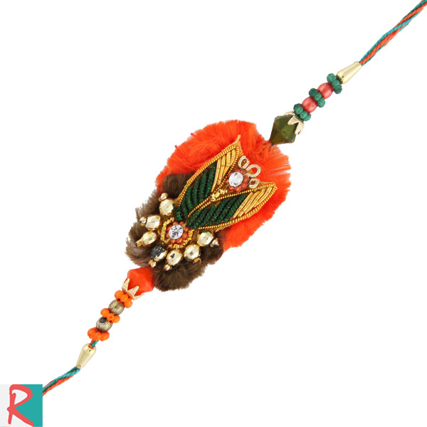 Golden pearls stylish zari rakhi