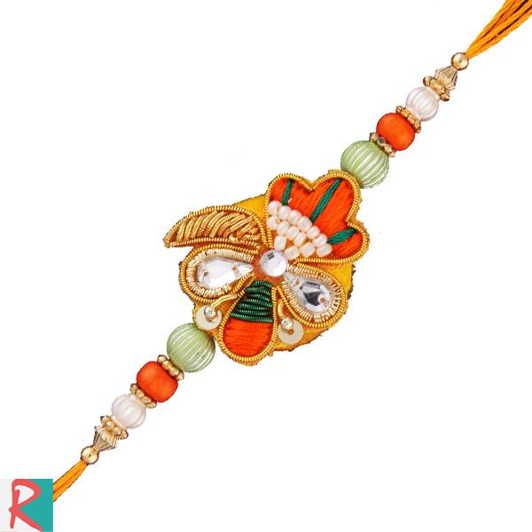 Colourful rakhi with zardosi work