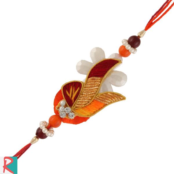 Flower zari resham rakhi